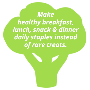 Make healthy breakfast, lunch, snack and dinner daily staples instead of rare treats.