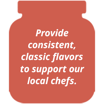 Provide consistent, classic flavors to support our local chefs.