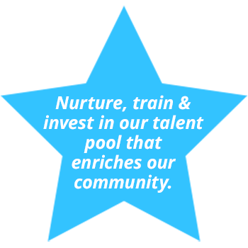 Nuture, train and invest in our talent pool that enriches our community.